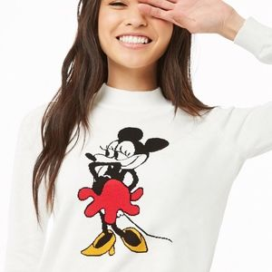 Forever 21 White Cropped Mickey Mouse Sweater
